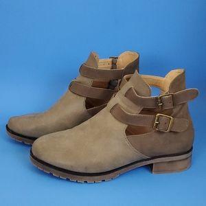 Muk Luks 2 Tone Khaki Faux Leather Booties - 9